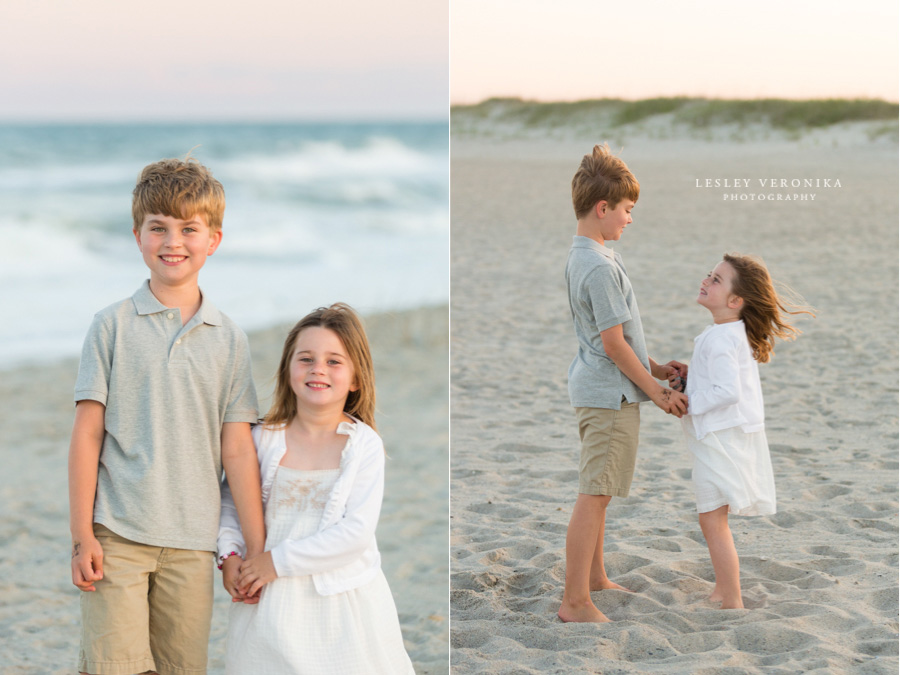children portraits, sibling portraits, beach session, Fort Fisher NC family photographer